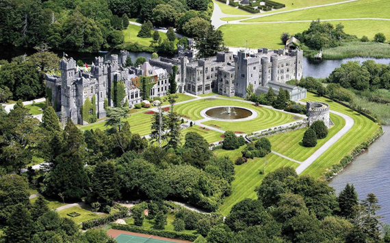 An aerial view of Ashford Castle and its grounds.