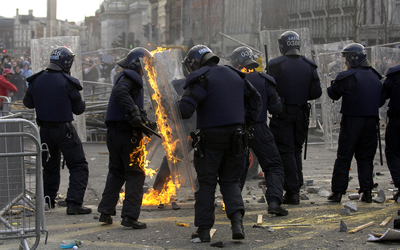Police injured by flaming projectiles as Sinn Fein protesters clashed with unionists on O'Connell Street in 2006.
