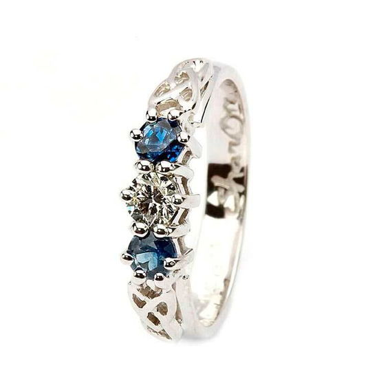 14K White Gold Three Stone Celtic Ring with Sapphire and Diamond