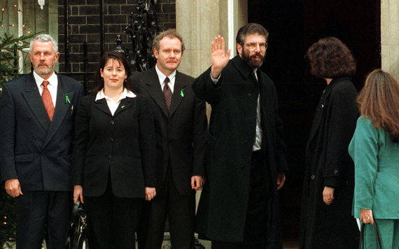 Sinn Fein delegation visit 10 Downing Street, the British Prime Minister's HQ, in London.