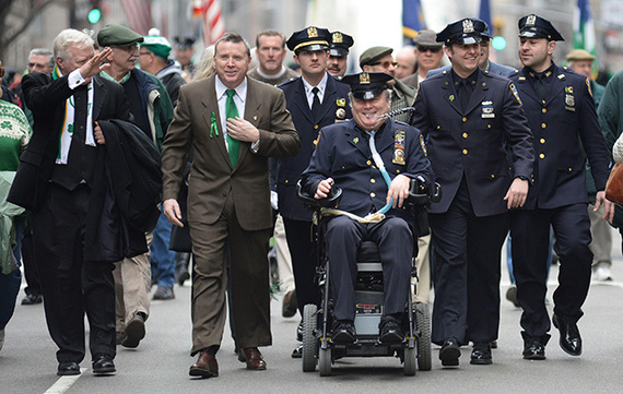 McDonald, paralyzed for 30 years after being shot in the line of duty, died Tuesday in hospital following a heart attack. The New York Irish community mourns his loss. Image: Irish America.