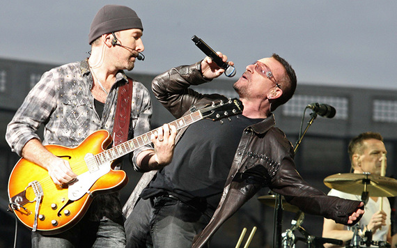 The Edge and Bono rocking out at Croke Park.