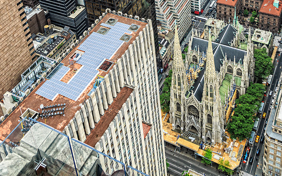From the air! The church takes up one whole city block. The spires rise 330 feet above street level. It seats 2,400 people