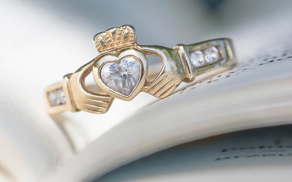 A beautiful Claddagh ring.