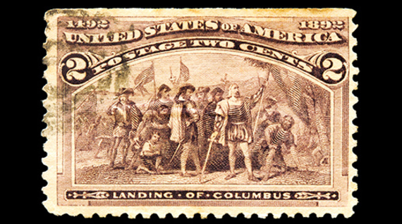 Landing of Columbus in the Americas postal stamp.