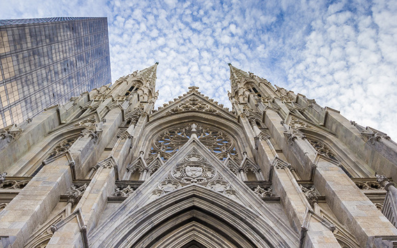 The stunning facade of St. Patrick's Cathedral in New York.