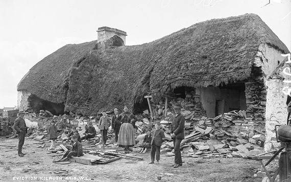 Mathias McGrath's home in Moyasta, County Clare after destruction by a battering ram. IMAGE: NATIONAL LIBRARY OF IRELAND