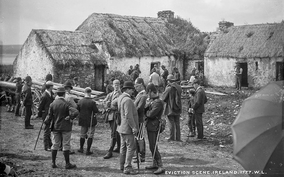 The scene at the eviction of Thomas Birmingham in Moyasta, County Clare. IMAGE: NATIONAL LIBRARY OF IRELAND