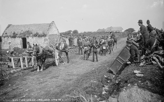 The scene before an eviction in County Clare. A disassembled battering ram is brought in on a horse cart. IMAGE: NATIONAL LIBRARY OF IRELAND