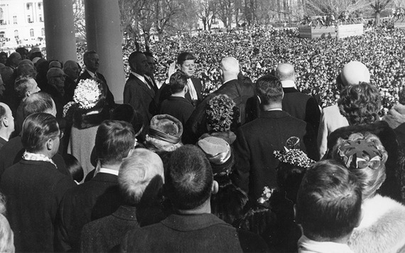 "Chief Justice Earl Warren administers the Oath of Office to President John F. Kennedy during ceremonies at the Capitol. 20 January 1961.""  Cecil Stoughton. US Army Signal Corps. John F. Kennedy Presidential Library and Museum."