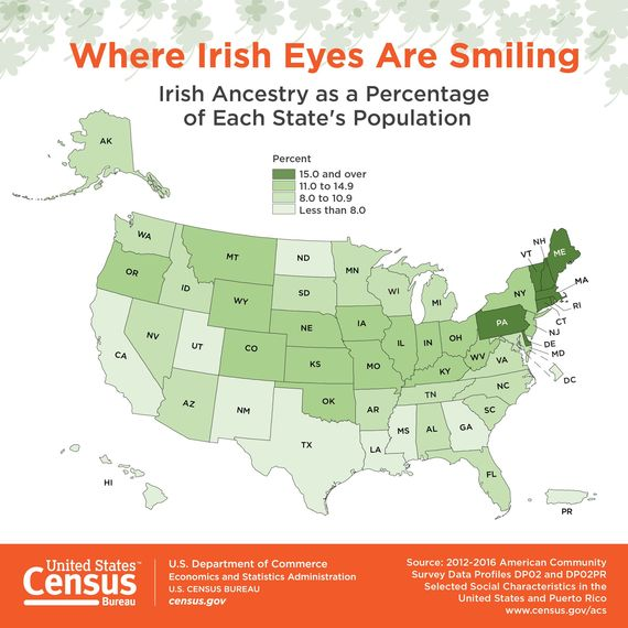where are most irish people in the us census reveals all. Black Bedroom Furniture Sets. Home Design Ideas