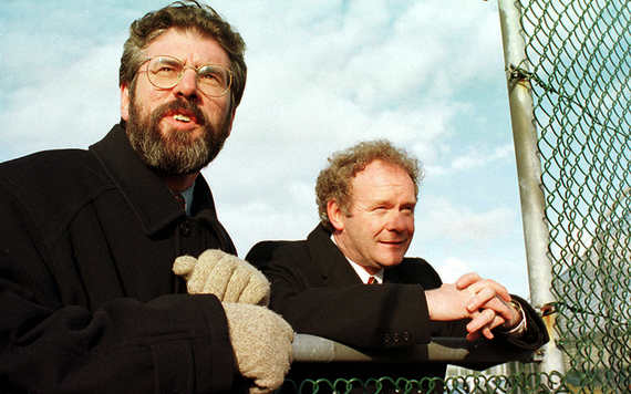 An old photo of Gerry Adams and Martin McGuinness.