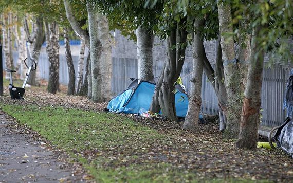 Homeless living in tents along the Grand Canal.