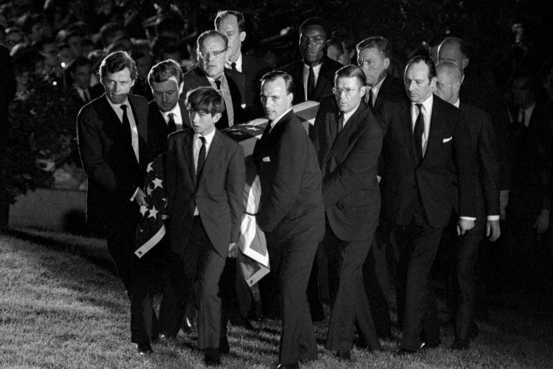 Robert F Kennedy, Jr (at the front) was one of the pall bearers at his father's funeral (Getty Images)