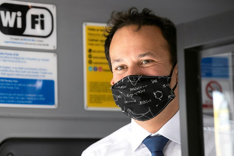 June 15, 2020: Taoiseach Leo Varadkar promoting the wearing of face masks.