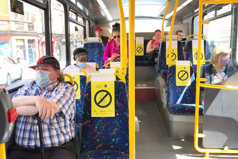 June 25, 2020: People wearing face masks on public transport in Dublin.