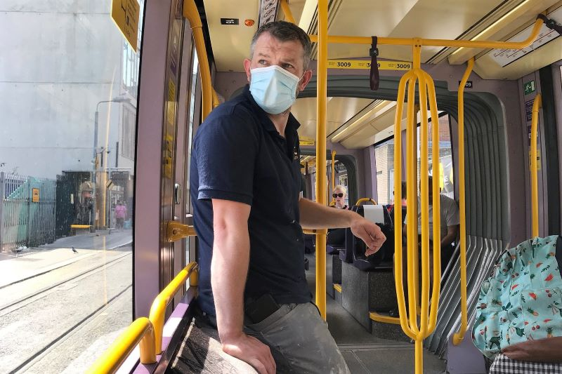June 25, 2020: Members of the public using the Luas in Dublin as Minister for Transport has said wearing face masks on public transport will soon be mandatory.