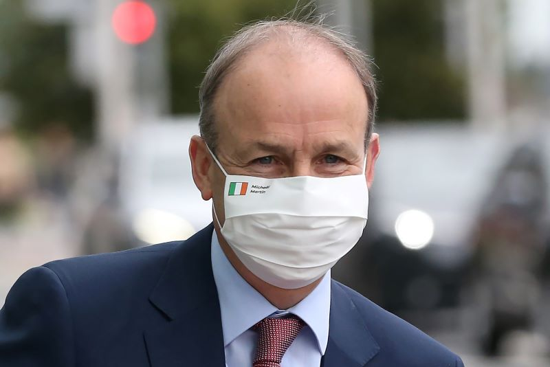 July 29, 2020: Fianna Fail leader and Taoiseach Micheal Martin TD arriving at the Convention Centre Dublin today for a sitting of the Dail.