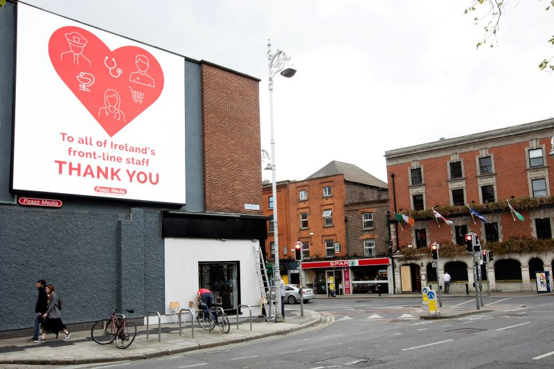 May 7, 2020: A thank you poster to Frontline Workers at the corner of Wexford Street in Dublin