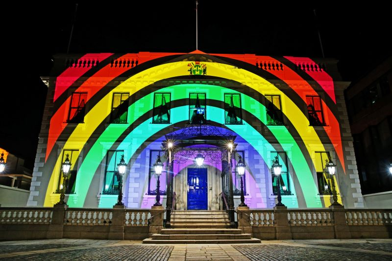 May 21, 2020: The Mansion House in Dublin, pictured with a projection of a rainbow which has become a symbol of hope and support during the COVID-19 pandemic across the world.