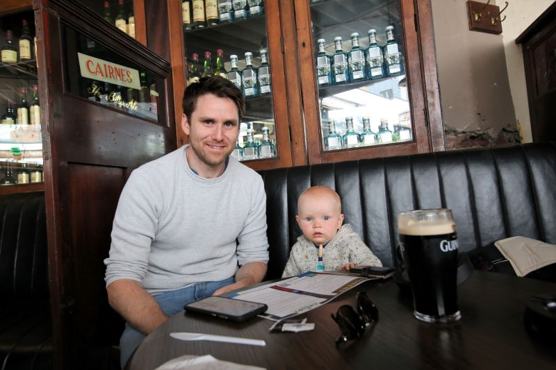 June 30, 2020: John Moran with is son Luke Moran enjoying lunch with social distancing in place at Toners Pub on Baggot Street, Dublin which is open for business after months of lockdown.