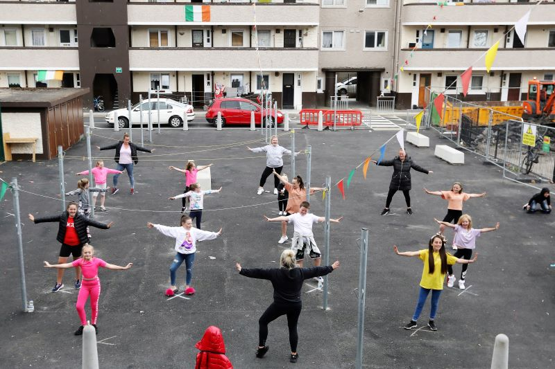 June 9, 2020: Choreographer Ashling Woods Larkin leading children in a social distancing dance class outside Countess Markiewicz House, Dublin 2